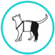 pata trasera prenda protectora veterinaria PPV para gato